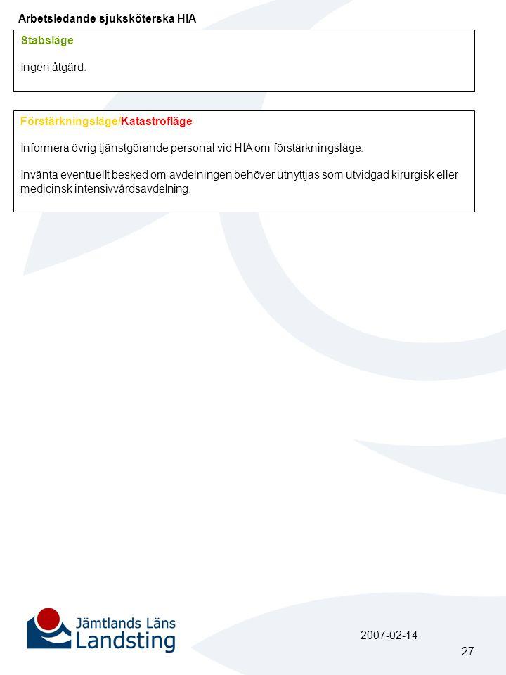 Arbetsledande sjuksköterska HIA Förstärkningsläge/Katastrofläge Informera övrig tjänstgörande personal vid HIA om förstärkningsläge. Invänta eventuell