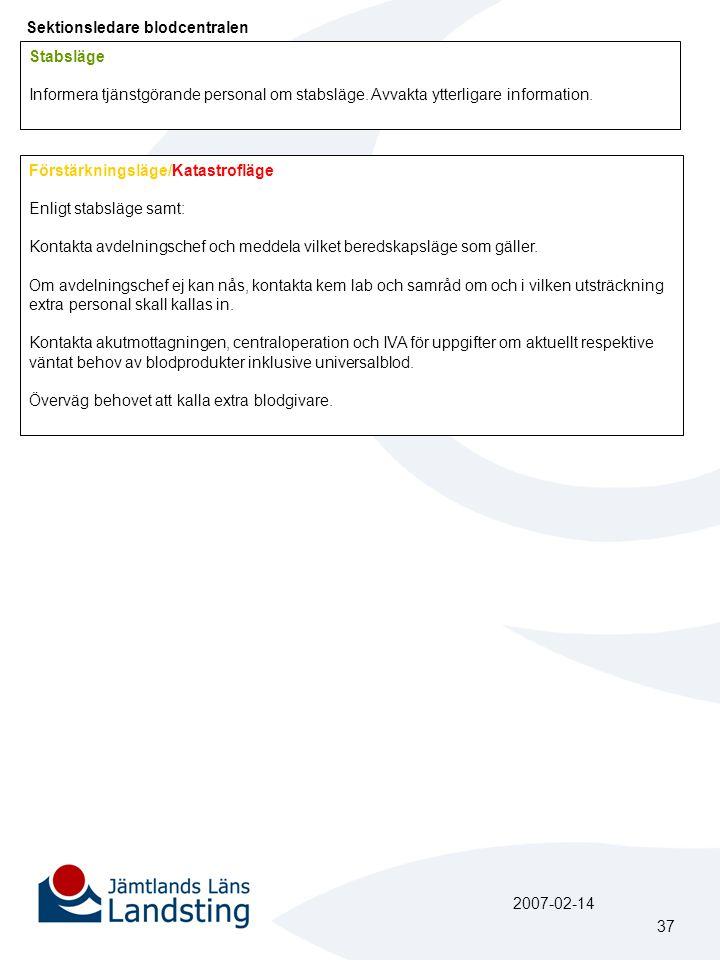 Sektionsledare blodcentralen Förstärkningsläge/Katastrofläge Enligt stabsläge samt: Kontakta avdelningschef och meddela vilket beredskapsläge som gäller.