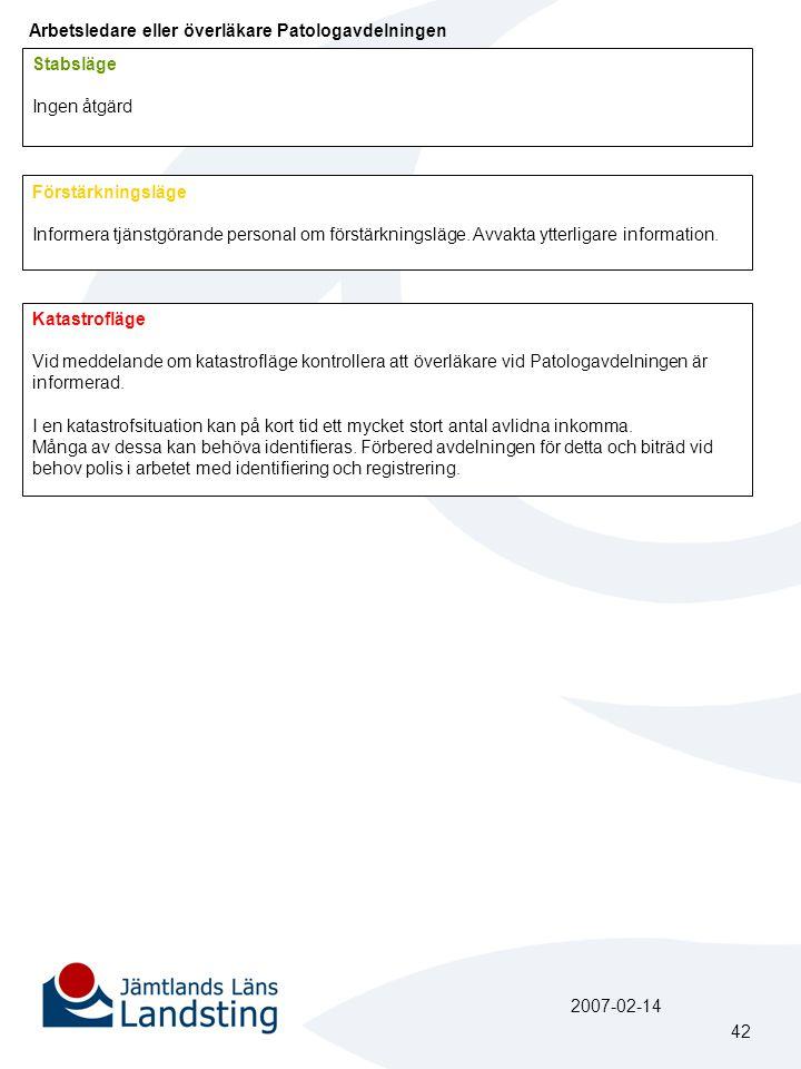 Arbetsledare eller överläkare Patologavdelningen Förstärkningsläge Informera tjänstgörande personal om förstärkningsläge. Avvakta ytterligare informat