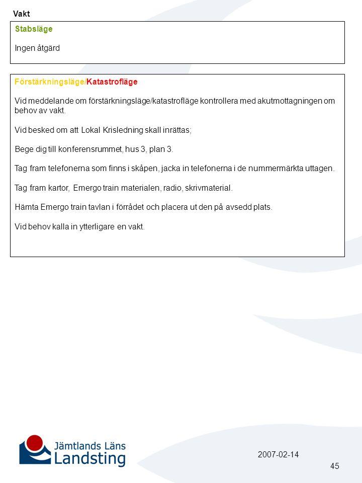 Vakt Stabsläge Ingen åtgärd Förstärkningsläge/Katastrofläge Vid meddelande om förstärkningsläge/katastrofläge kontrollera med akutmottagningen om beho