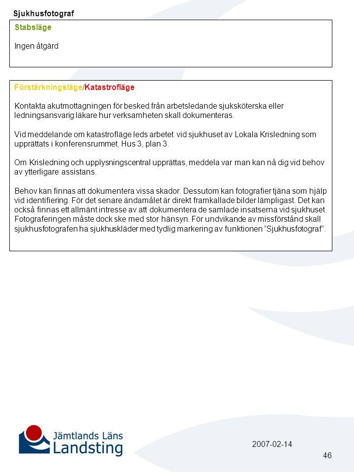 Sjukhusfotograf Stabsläge Ingen åtgärd Förstärkningsläge/Katastrofläge Kontakta akutmottagningen för besked från arbetsledande sjuksköterska eller led
