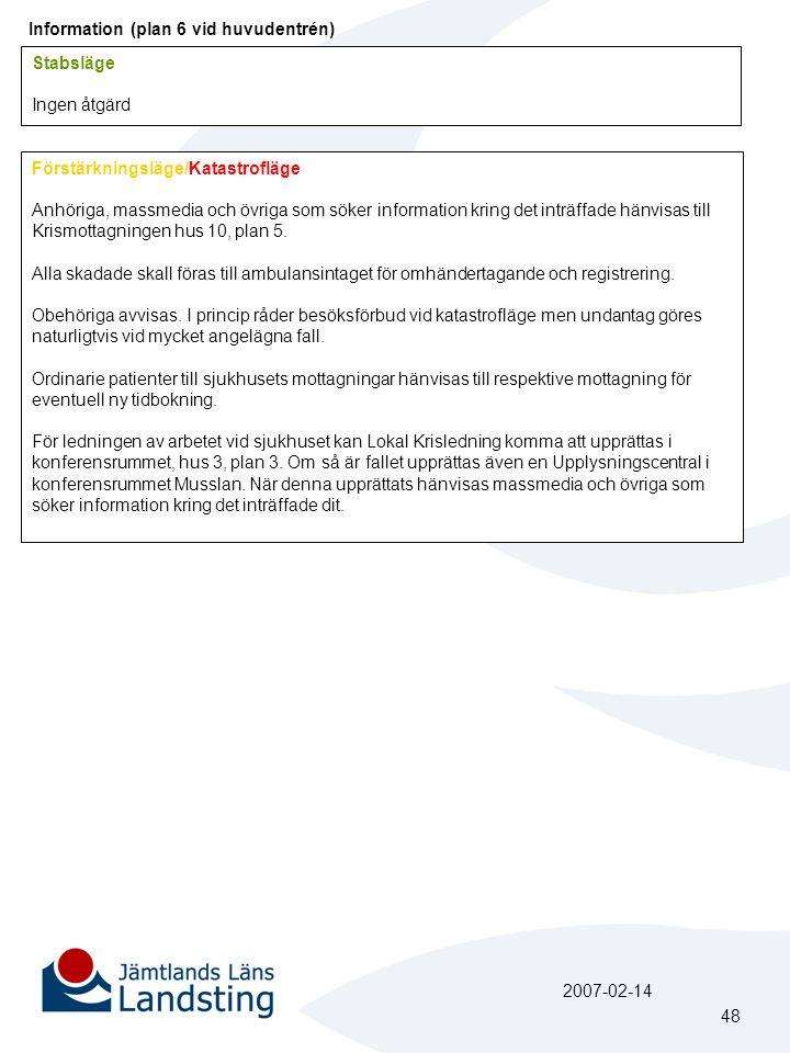 Information (plan 6 vid huvudentrén) Stabsläge Ingen åtgärd Förstärkningsläge/Katastrofläge Anhöriga, massmedia och övriga som söker information kring