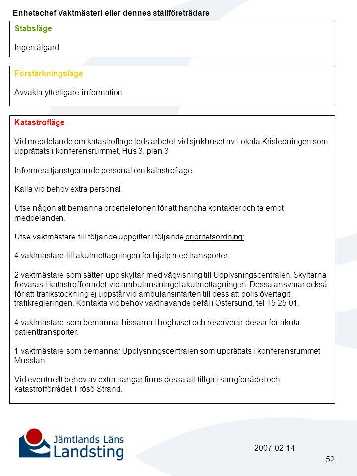 Enhetschef Vaktmästeri eller dennes ställföreträdare Stabsläge Ingen åtgärd Förstärkningsläge Avvakta ytterligare information.