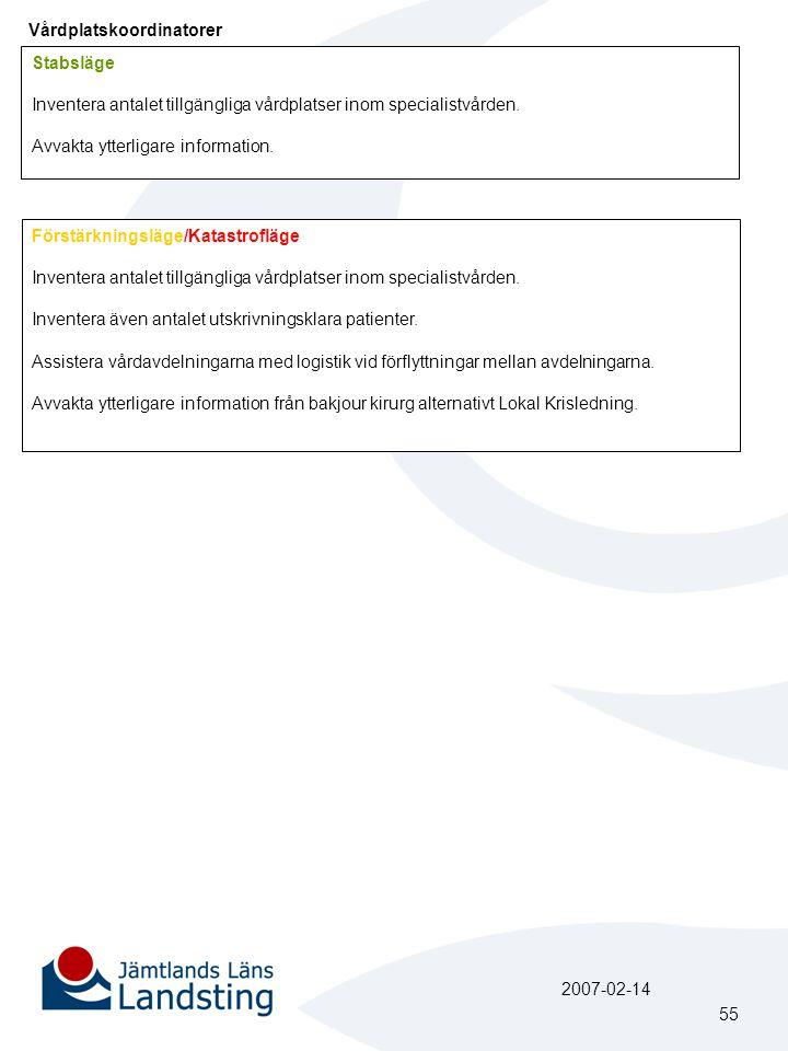 Vårdplatskoordinatorer Stabsläge Inventera antalet tillgängliga vårdplatser inom specialistvården. Avvakta ytterligare information. Förstärkningsläge/