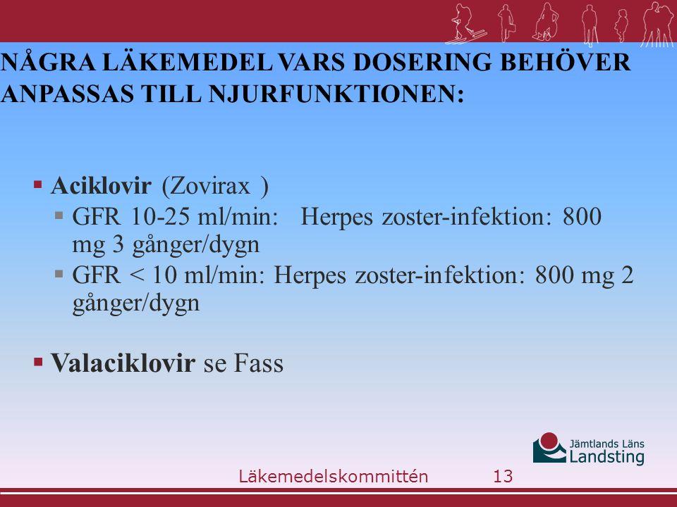 NÅGRA LÄKEMEDEL VARS DOSERING BEHÖVER ANPASSAS TILL NJURFUNKTIONEN:  Aciklovir (Zovirax )  GFR 10-25 ml/min: Herpes zoster-infektion: 800 mg 3 gånge