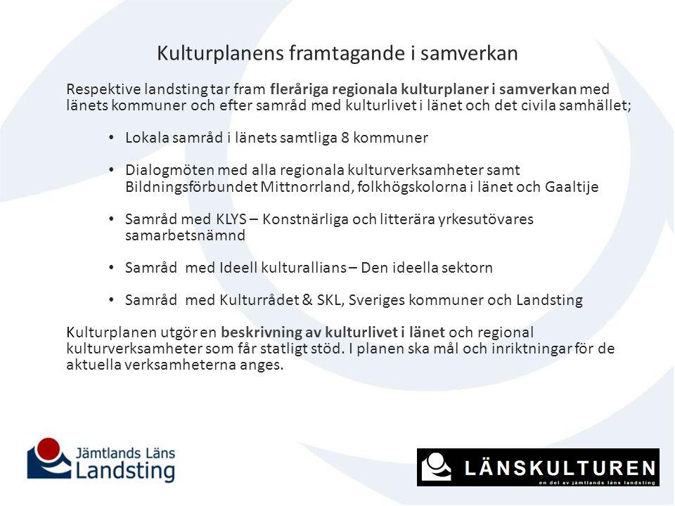 Kulturplanens framtagande i samverkan Respektive landsting tar fram fleråriga regionala kulturplaner i samverkan med länets kommuner och efter samråd
