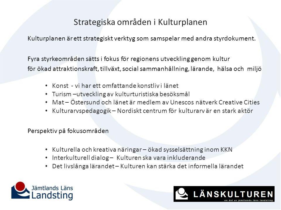 Strategiska områden i Kulturplanen Kulturplanen är ett strategiskt verktyg som samspelar med andra styrdokument. Fyra styrkeområden sätts i fokus för