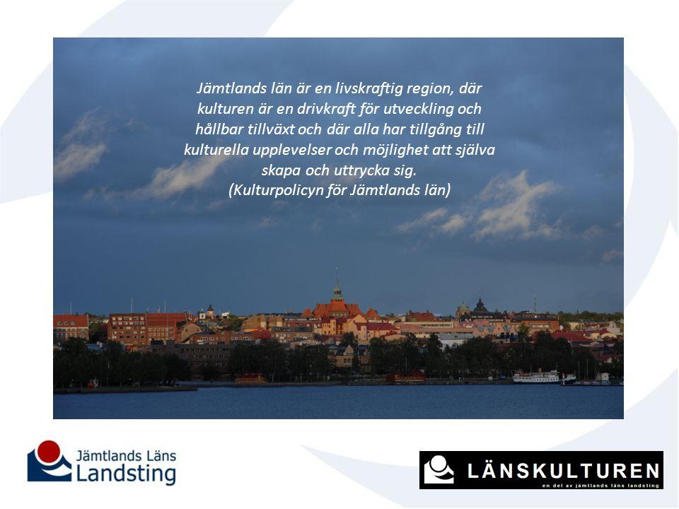 Jämtlands län är en livskraftig region, där kulturen är en drivkraft för utveckling och hållbar tillväxt och där alla har tillgång till kulturella upp