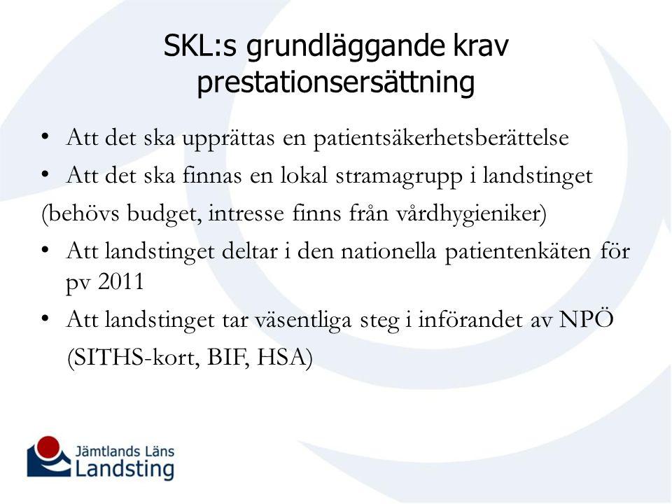 SKL:s grundläggande krav prestationsersättning Att det ska upprättas en patientsäkerhetsberättelse Att det ska finnas en lokal stramagrupp i landsting