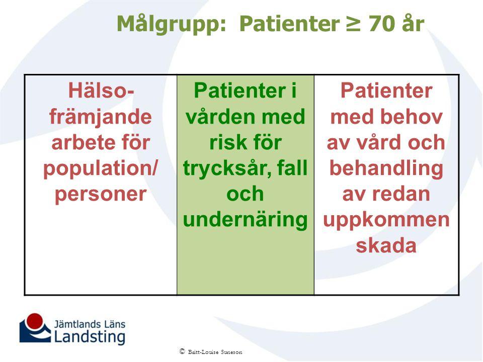 Målgrupp: Patienter ≥ 70 år Hälso- främjande arbete för population/ personer Patienter i vården med risk för trycksår, fall och undernäring Patienter