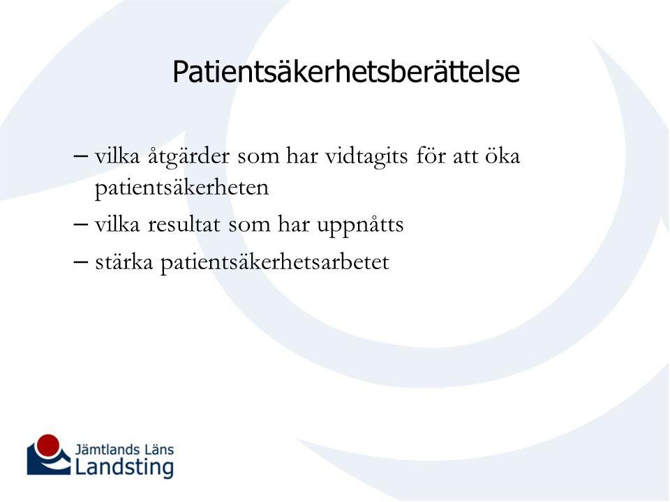 Patientsäkerhetsberättelse – vilka åtgärder som har vidtagits för att öka patientsäkerheten – vilka resultat som har uppnåtts – stärka patientsäkerhet