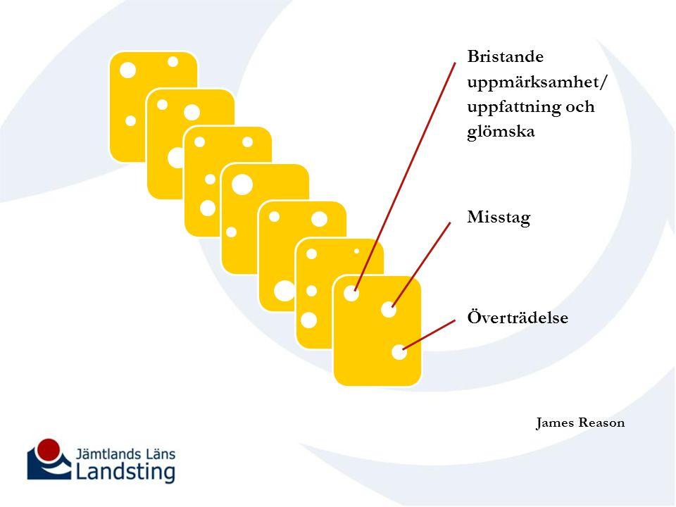 James Reason Bristande uppmärksamhet/ uppfattning och glömska Misstag Överträdelse