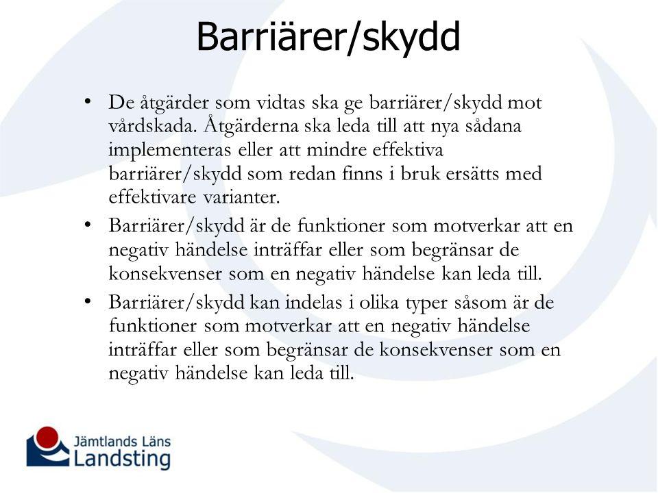 Barriärer/skydd De åtgärder som vidtas ska ge barriärer/skydd mot vårdskada. Åtgärderna ska leda till att nya sådana implementeras eller att mindre ef