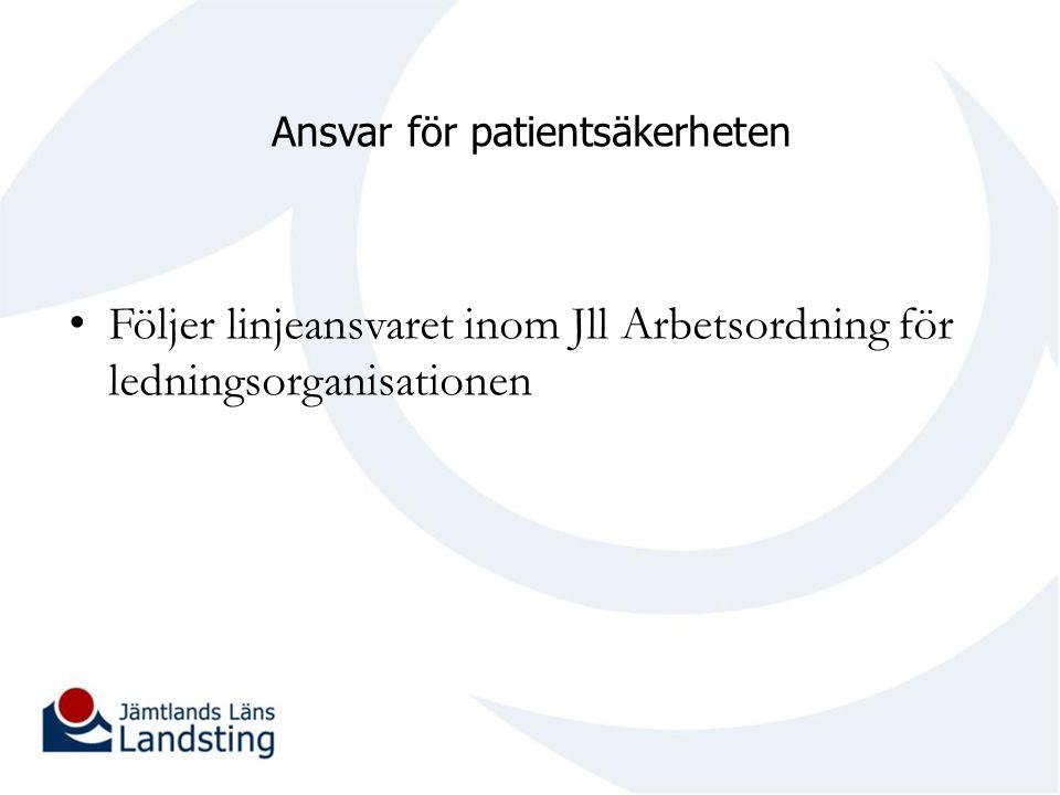 Ansvar för patientsäkerheten Följer linjeansvaret inom Jll Arbetsordning för ledningsorganisationen