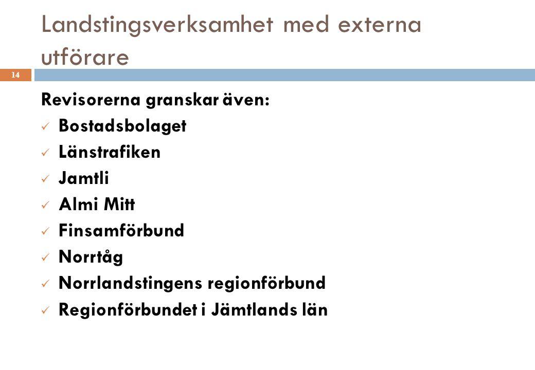 Landstingsverksamhet med externa utförare 14 Revisorerna granskar även: Bostadsbolaget Länstrafiken Jamtli Almi Mitt Finsamförbund Norrtåg Norrlandsti