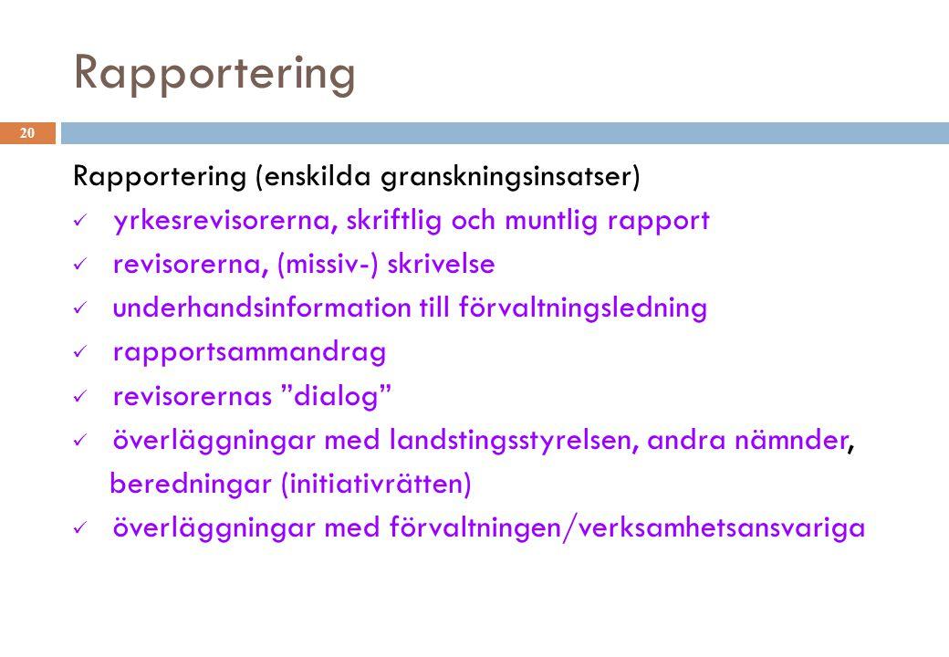 Rapportering 20 Rapportering (enskilda granskningsinsatser) yrkesrevisorerna, skriftlig och muntlig rapport revisorerna, (missiv-) skrivelse underhand