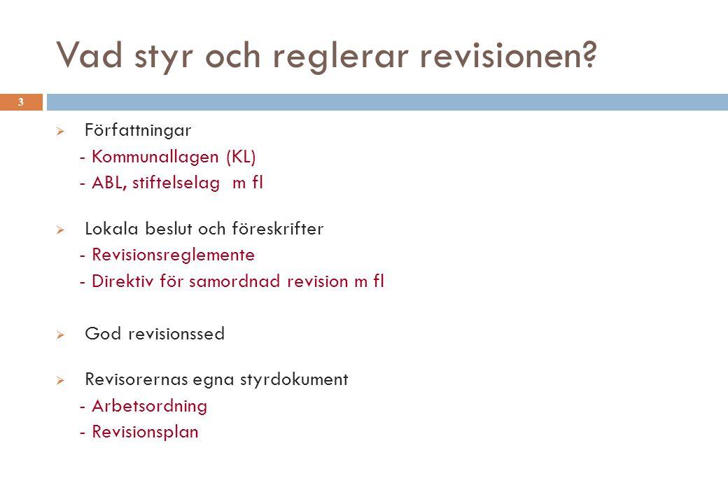 Vad styr och reglerar revisionen? 3  Författningar - Kommunallagen (KL) - ABL, stiftelselag m fl  Lokala beslut och föreskrifter - Revisionsreglemen
