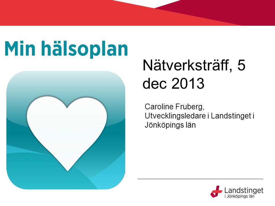 Nätverksträff, 5 dec 2013 Caroline Fruberg, Utvecklingsledare i Landstinget i Jönköpings län