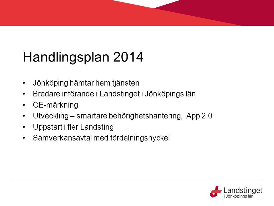 Handlingsplan 2014 Jönköping hämtar hem tjänsten Bredare införande i Landstinget i Jönköpings län CE-märkning Utveckling – smartare behörighetshanteri