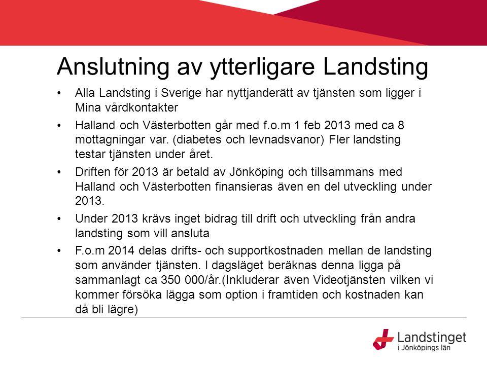 Anslutning av ytterligare Landsting Alla Landsting i Sverige har nyttjanderätt av tjänsten som ligger i Mina vårdkontakter Halland och Västerbotten gå