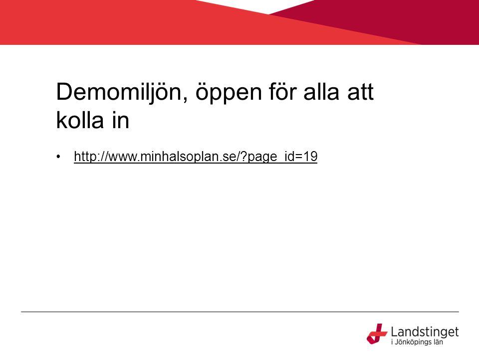 Demomiljön, öppen för alla att kolla in http://www.minhalsoplan.se/?page_id=19