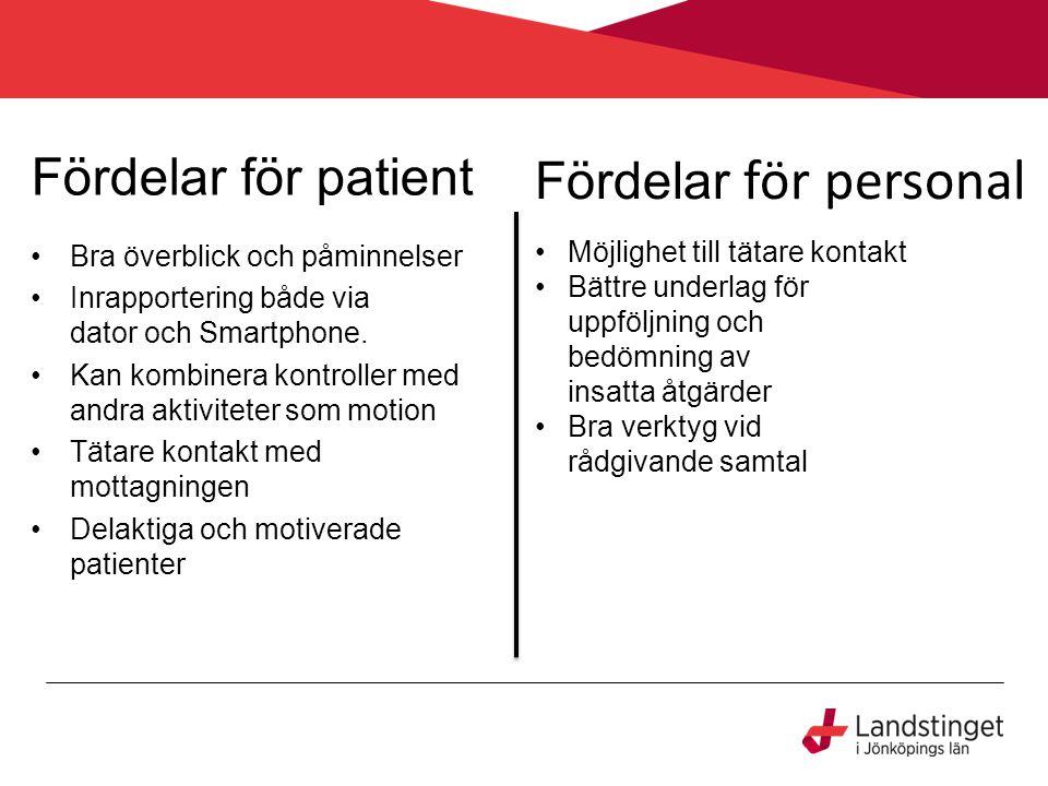 Fördelar för patient Bra överblick och påminnelser Inrapportering både via dator och Smartphone. Kan kombinera kontroller med andra aktiviteter som mo