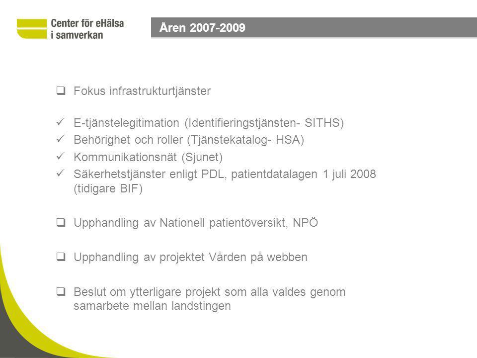 Fokus infrastrukturtjänster E-tjänstelegitimation (Identifieringstjänsten- SITHS) Behörighet och roller (Tjänstekatalog- HSA) Kommunikationsnät (Sju
