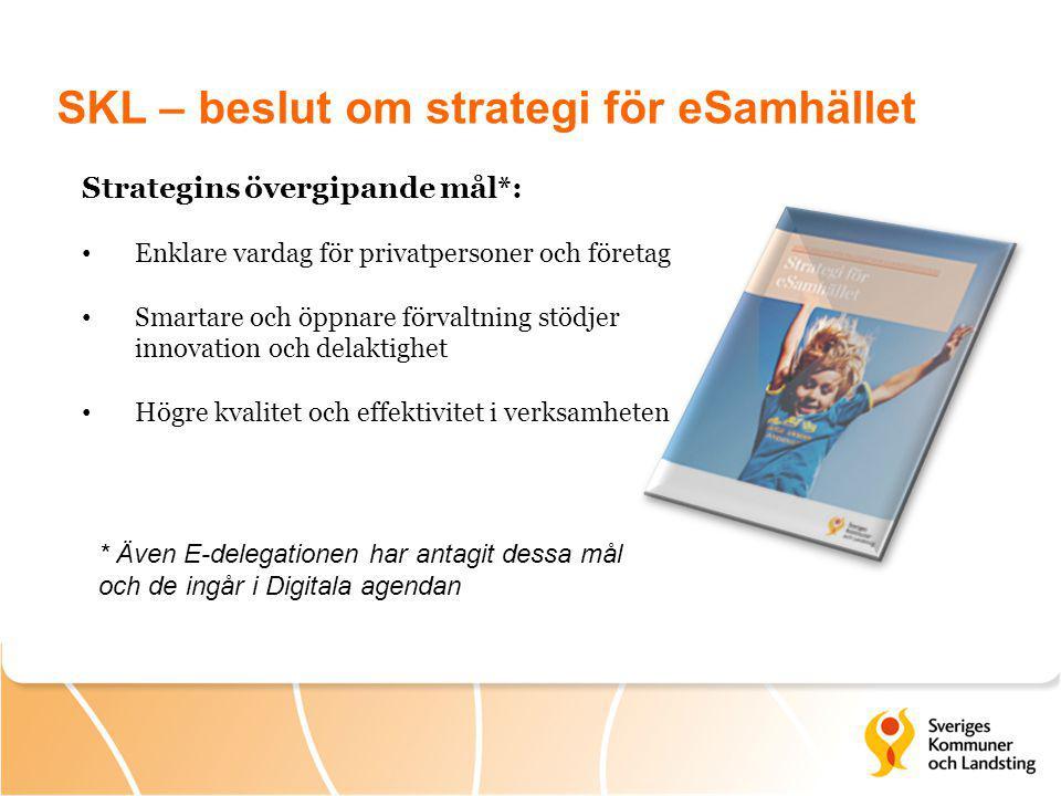 SKL – beslut om strategi för eSamhället Strategins övergipande mål*: Enklare vardag för privatpersoner och företag Smartare och öppnare förvaltning st