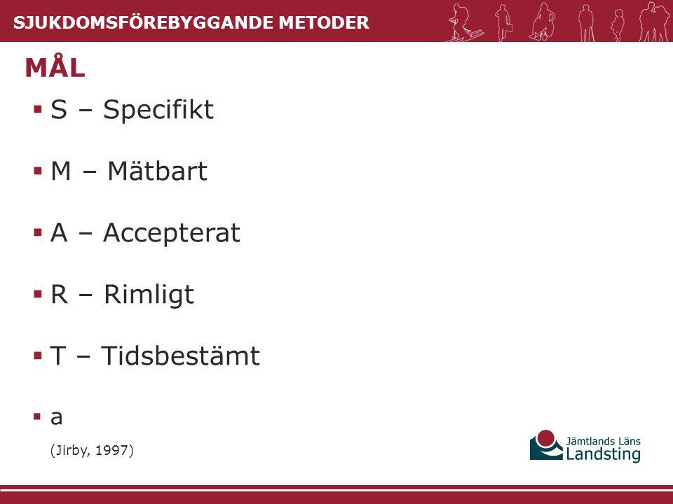  S – Specifikt  M – Mätbart  A – Accepterat  R – Rimligt  T – Tidsbestämt  a (Jirby, 1997) MÅL