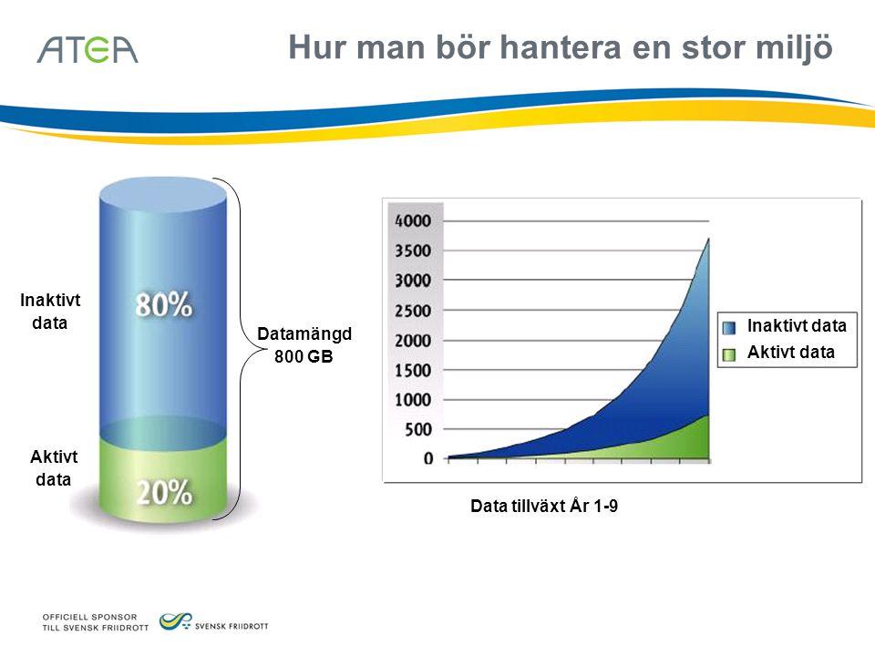 Data tillväxt År 1-9 Hur man bör hantera en stor miljö Inaktivt data Aktivt data Inaktivt data Aktivt data Datamängd 800 GB