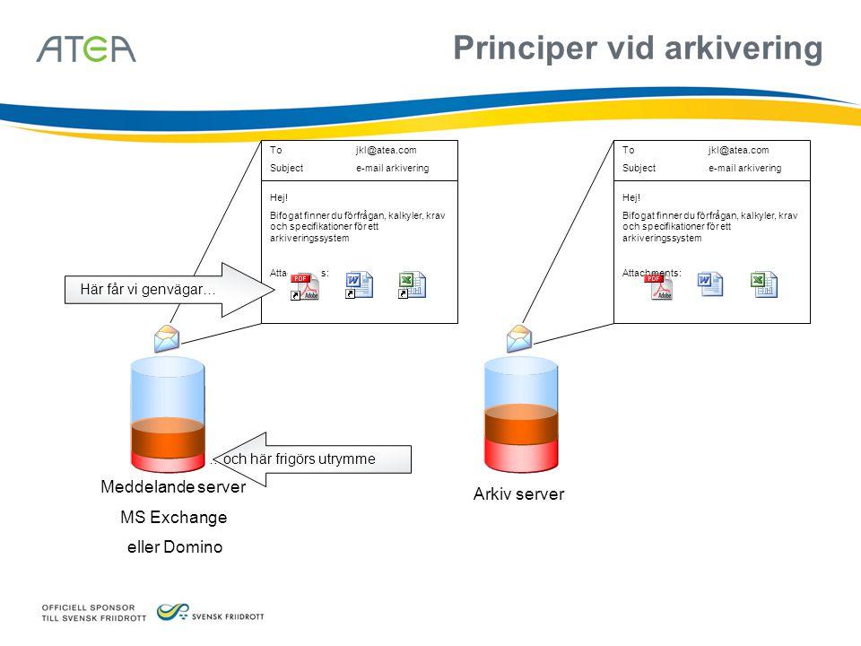 Meddelande server MS Exchange eller Domino Arkiv server Tojkl@atea.com Subjecte-mail arkivering Hej.