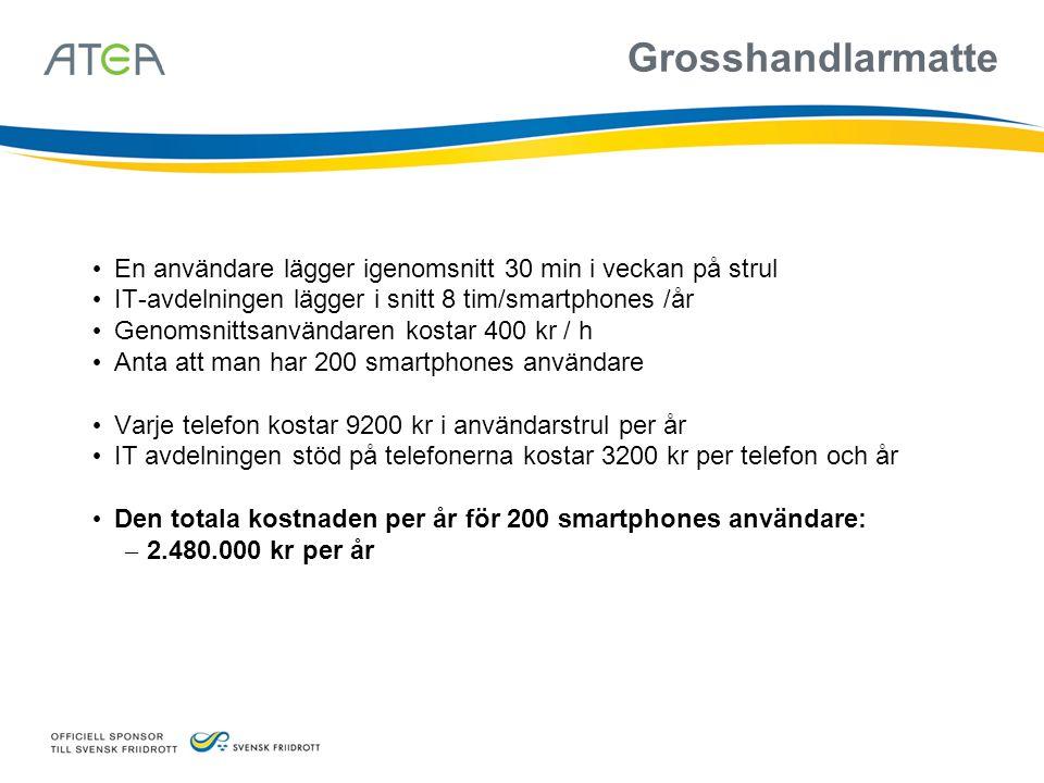 Grosshandlarmatte En användare lägger igenomsnitt 30 min i veckan på strul IT-avdelningen lägger i snitt 8 tim/smartphones /år Genomsnittsanvändaren k