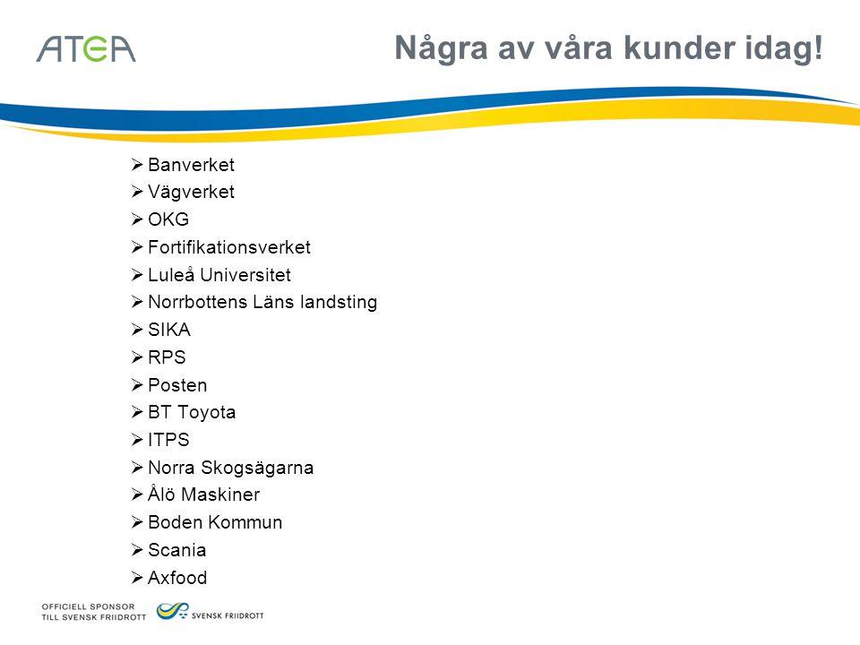 Några av våra kunder idag!  Banverket  Vägverket  OKG  Fortifikationsverket  Luleå Universitet  Norrbottens Läns landsting  SIKA  RPS  Posten