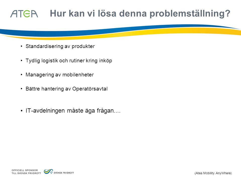 Hur kan vi lösa denna problemställning? Standardisering av produkter Tydlig logistik och rutiner kring inköp Managering av mobilenheter Bättre hanteri