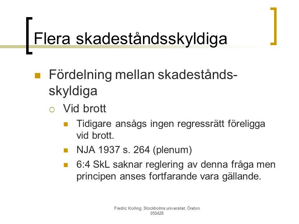 Fredric Korling, Stockholms universitet, Örebro 050428 Flera skadeståndsskyldiga Fördelning mellan skadestånds- skyldiga  Vid brott Tidigare ansågs i