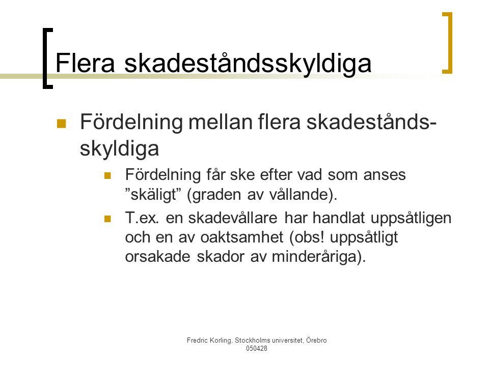 Fredric Korling, Stockholms universitet, Örebro 050428 Flera skadeståndsskyldiga Fördelning mellan flera skadestånds- skyldiga Fördelning får ske efte
