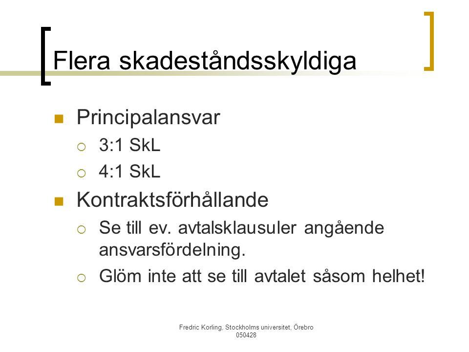 Fredric Korling, Stockholms universitet, Örebro 050428 Flera skadeståndsskyldiga Principalansvar  3:1 SkL  4:1 SkL Kontraktsförhållande  Se till ev