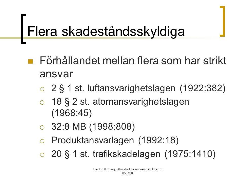 Fredric Korling, Stockholms universitet, Örebro 050428 Flera skadeståndsskyldiga Förhållandet mellan flera som har strikt ansvar  2 § 1 st. luftansva