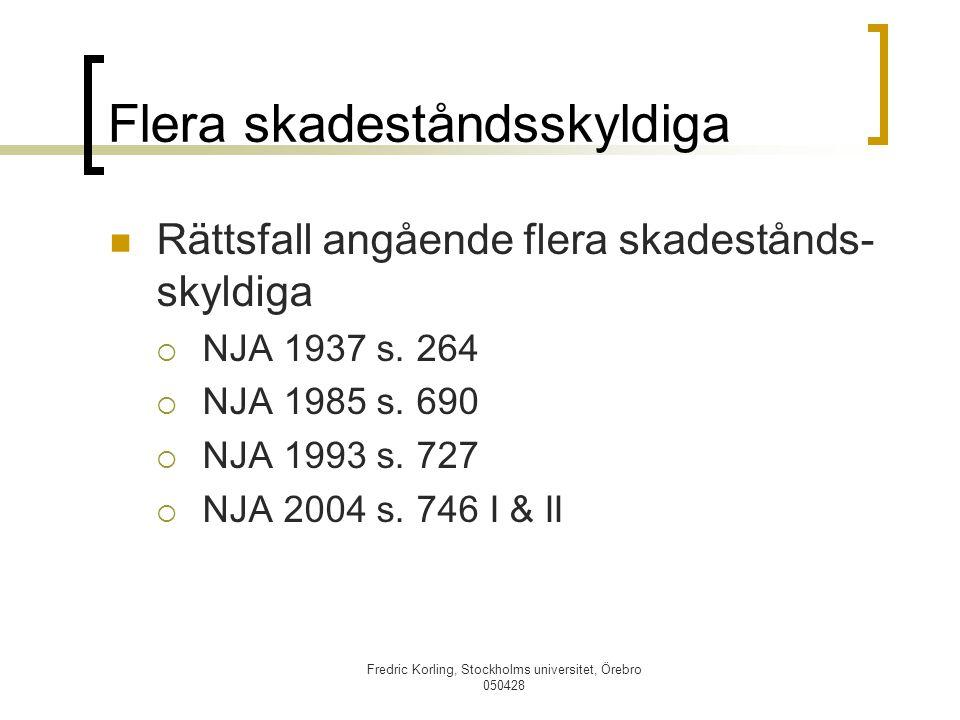 Fredric Korling, Stockholms universitet, Örebro 050428 Flera skadeståndsskyldiga Rättsfall angående flera skadestånds- skyldiga  NJA 1937 s. 264  NJ