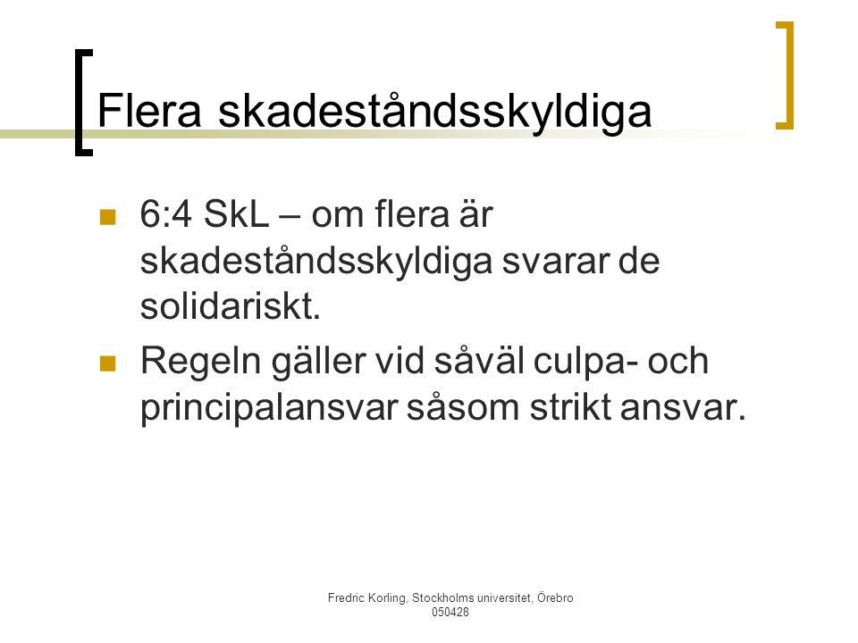 Fredric Korling, Stockholms universitet, Örebro 050428 Flera skadeståndsskyldiga 6:4 SkL – om flera är skadeståndsskyldiga svarar de solidariskt. Rege