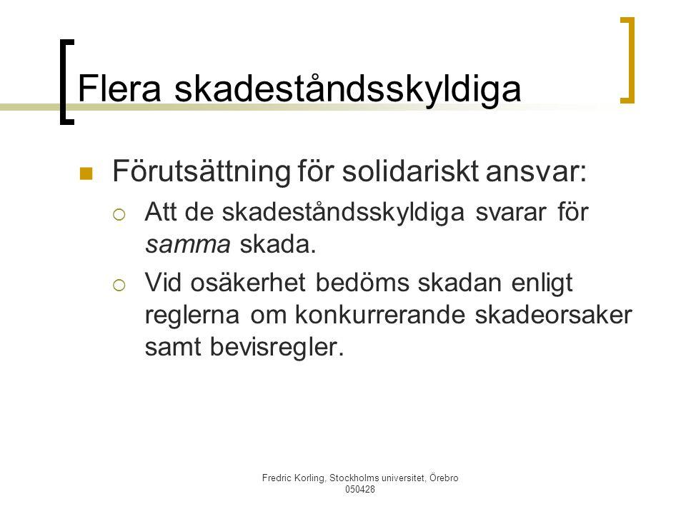 Fredric Korling, Stockholms universitet, Örebro 050428 Flera skadeståndsskyldiga Förutsättning för solidariskt ansvar:  Att de skadeståndsskyldiga sv