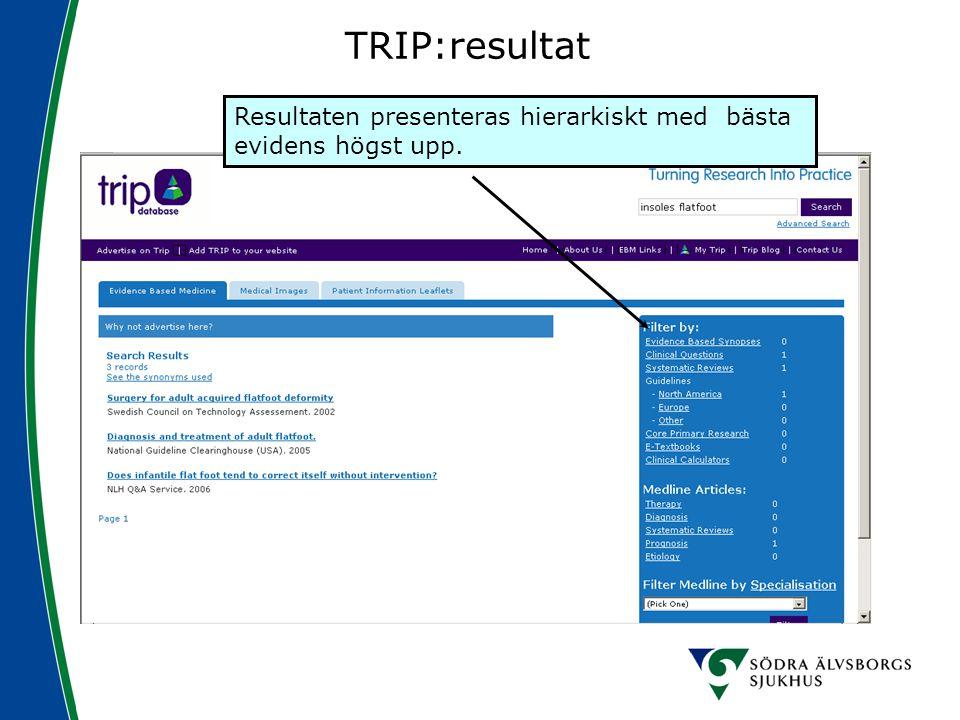 TRIP:resultat Resultaten presenteras hierarkiskt med bästa evidens högst upp.