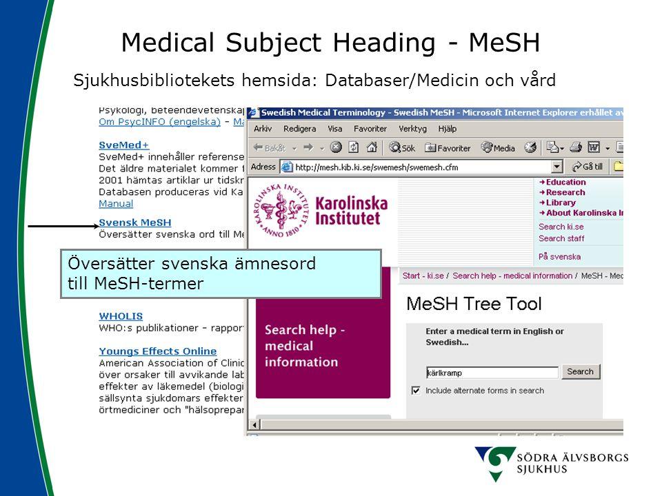 Medical Subject Heading - MeSH Sjukhusbibliotekets hemsida: Databaser/Medicin och vård Översätter svenska ämnesord till MeSH-termer