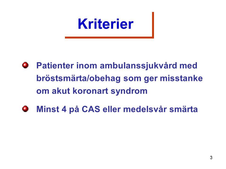 Patienter inom ambulanssjukvård med bröstsmärta/obehag som ger misstanke om akut koronart syndrom Minst 4 på CAS eller medelsvår smärta Kriterier 3