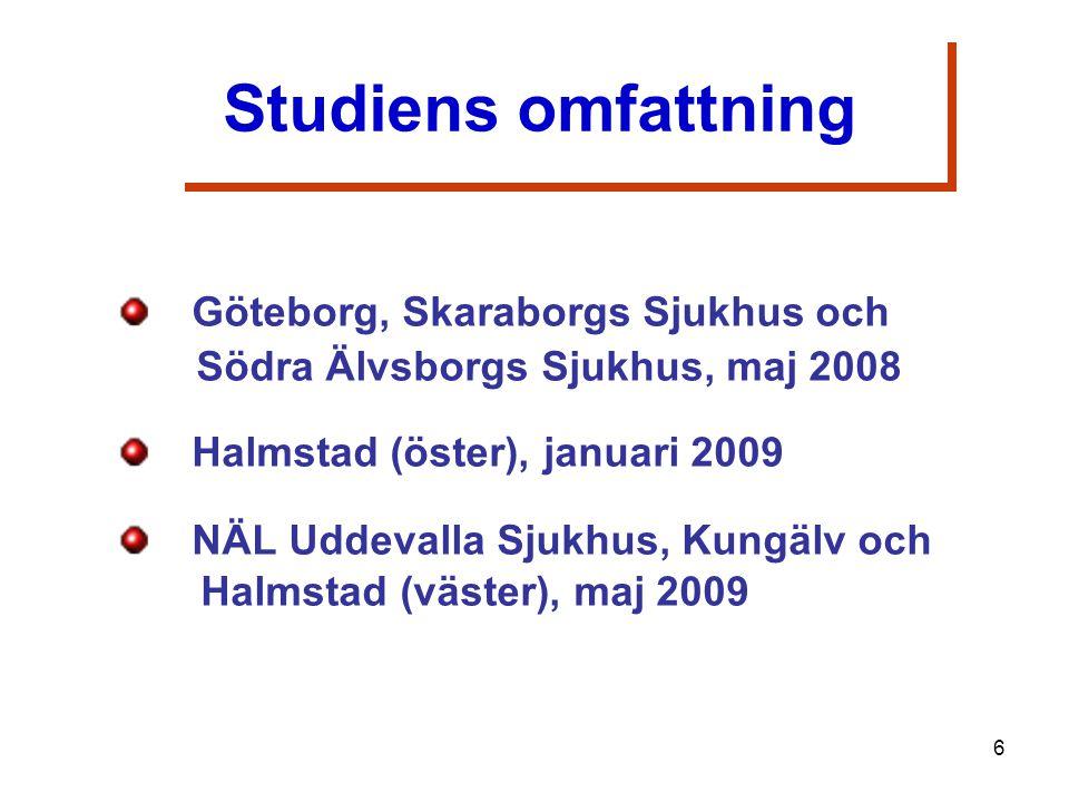 Göteborg, Skaraborgs Sjukhus och Södra Älvsborgs Sjukhus, maj 2008 Halmstad (öster), januari 2009 NÄL Uddevalla Sjukhus, Kungälv och Halmstad (väster), maj 2009 Studiens omfattning 6