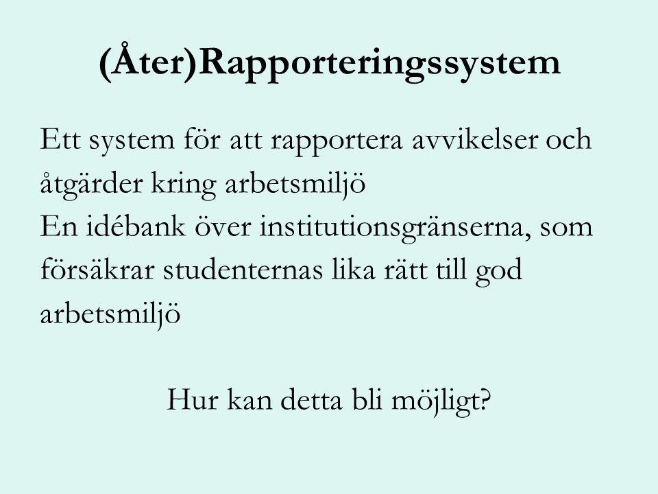 (Åter)Rapporteringssystem Ett system för att rapportera avvikelser och åtgärder kring arbetsmiljö En idébank över institutionsgränserna, som försäkrar studenternas lika rätt till god arbetsmiljö Hur kan detta bli möjligt
