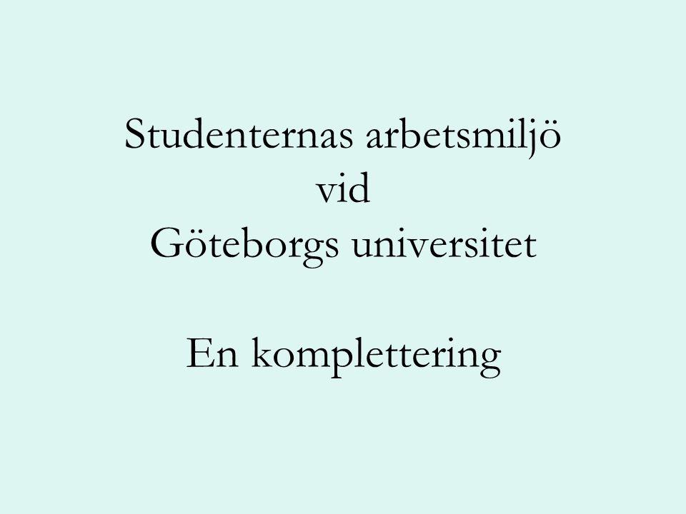 Studenternas arbetsmiljö vid Göteborgs universitet En komplettering