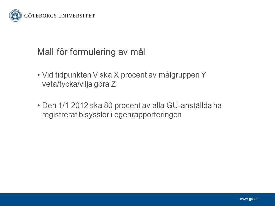 www.gu.se Mall för formulering av mål Vid tidpunkten V ska X procent av målgruppen Y veta/tycka/vilja göra Z Den 1/1 2012 ska 80 procent av alla GU-anställda ha registrerat bisysslor i egenrapporteringen