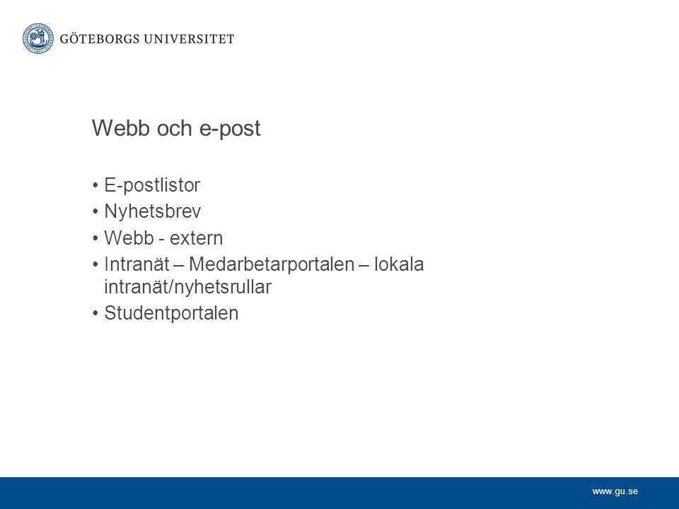 www.gu.se Webb och e-post E-postlistor Nyhetsbrev Webb - extern Intranät – Medarbetarportalen – lokala intranät/nyhetsrullar Studentportalen