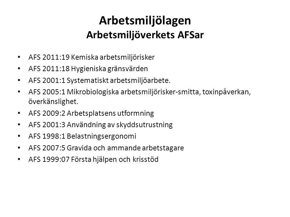 Arbetsmiljölagen Arbetsmiljöverkets AFSar AFS 2011:19 Kemiska arbetsmiljörisker AFS 2011:18 Hygieniska gränsvärden AFS 2001:1 Systematiskt arbetsmiljöarbete.